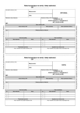 druk noty korygującej na datę i serię 2x