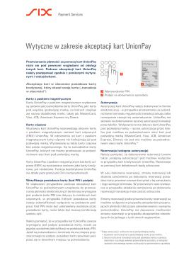 Wytyczne w zakresie akceptacji kart UnionPay