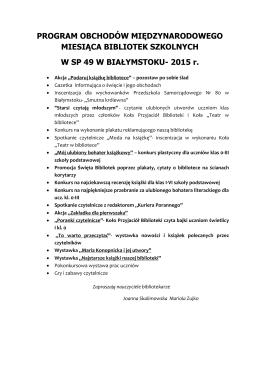 2015 r. - Szkoła Podstawowa nr 49 w Białymstoku