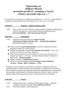 planem obchodów jubileuszu 90-lecia Parafii p.w. św. Antoniego w