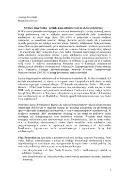 projekt pasa autobusowego na ul. Świętokrzyskiej w