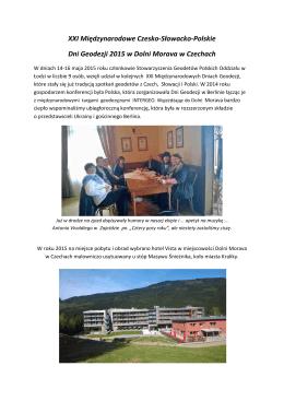 Sprawozdanie z XXI Międzynarodowych Czesko-Słowacko