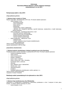 Informacja Burmistrza Miasta Złotowa o stanie realizacji inwestycji
