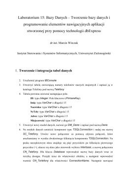 Baza danych - lab 15 - Instytut Sterowania i Systemów