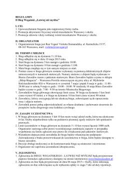 """REGULAMIN II Bieg Wegański """"Łatwiej niż myślisz"""" I. CEL 1"""
