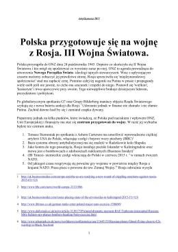 Polska przygotowuje się na wojnę z Rosja. III Wojna