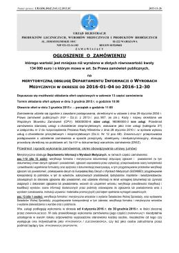 20151126 ogłoszenie o zamówieniu - Urząd Rejestracji Produktów