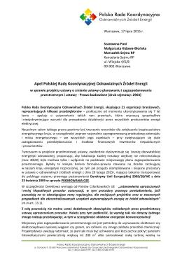 Apel PRK OZE do projektu ustawy o zmianie ustawy o