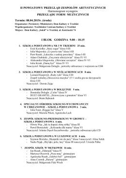 Przegląd Form Muzycznych 8.04.2015r.