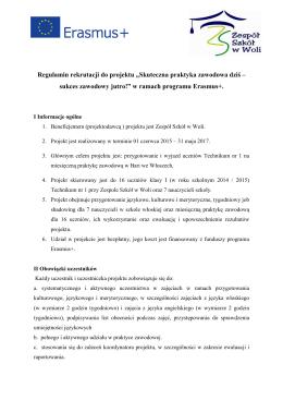 """Regulamin rekrutacji do projektu """"Skuteczna praktyka zawodowa"""