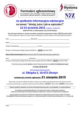 Formularz zgłoszeniowy - Polskie Stowarzyszenie Pomocy Chorym