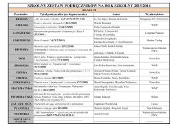 szkolny zestaw podręczników na rok szkolny 2015/2016 klasa iii