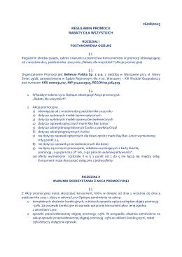 26/08/2015 REGULAMIN PROMOCJI RABATY DLA WSZYSTKICH