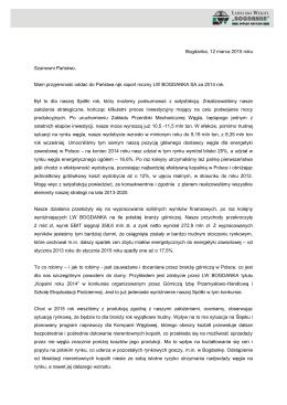 List Prezesa Zarządu LW Bogdanka 2014