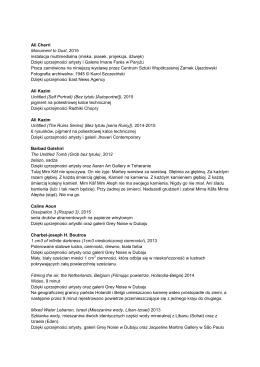 Lista prac - Centrum Sztuki Współczesnej