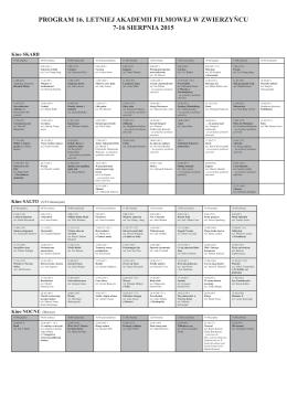 Kalendarz projkecji oraz wydarzeń towarzyszących