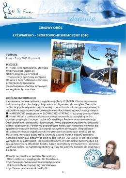zimowy obóz łyżwiarsko - sportowo-rekreacyjny 2016
