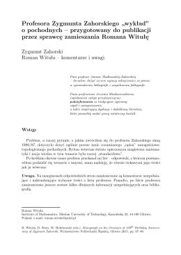 """Profesora Zygmunta Zahorskiego """"wykład"""" o pochodnych"""