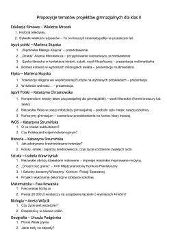 Propozycje tematów projektów gimnazjalnych dla klas II