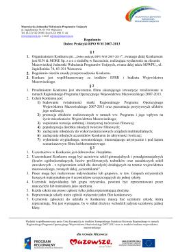 Regulamin konkursu – pobierz - Dobre Praktyki RPO WM 2007-2013