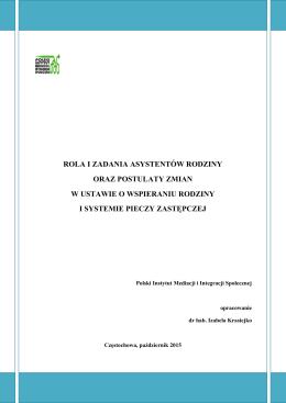 Rola i zadania asystentów rodziny oraz postulaty zmian w ustawie