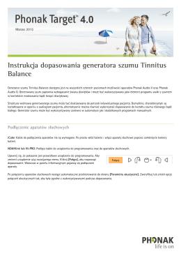 Instrukcja dopasowania generatora szumu Tinnitus Balance