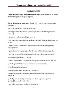 Wymagania edukacyjne - język niemiecki KLASA PIERWSZA