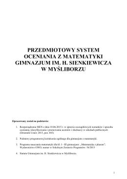 przedmiotowy system oceniania z matematyki gimnazjum im. h