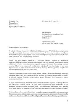 Pismo z dnia 18 marca 2015  - Polskie Towarzystwo Fizjoterapii