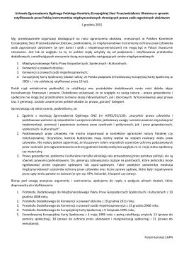 Uchwała Zgromadzenia Ogólnego Polskiego Komitetu
