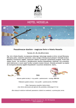 Kolonie Program - Hotel Nosselia