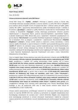 Raport bieżący 18/2015 Data: 30.10.2015 Umowa