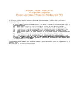 Aneks nr 1 z dnia 1 marca 2015 r. do regulaminu