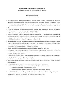 Regulamin korzystania z basenu - Basen w Pruszczu Gdańskim