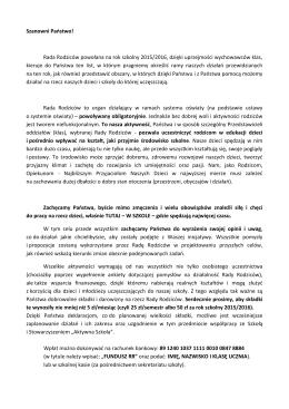 List Komitetu Rady Rodziców do Rodziców i Opiekunów uczniów