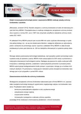 Dzięki innowacyjnej technologii prania i czyszczenia MEWA