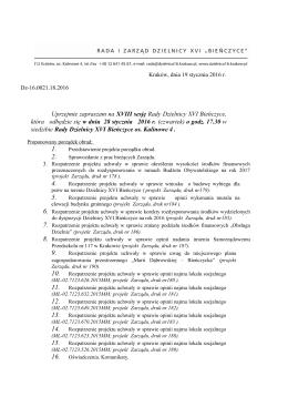 Projekt porządku obrad - Bieńczyce, Dzielnica XVI Kraków