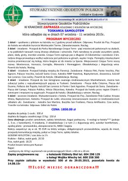 Stowarzyszenie Geodetów Podróżników W KRAKOWIE TOSKANIA