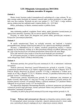 Zadania zawodów II stopnia LIX Olimpiady Astronomicznej 2015/2016