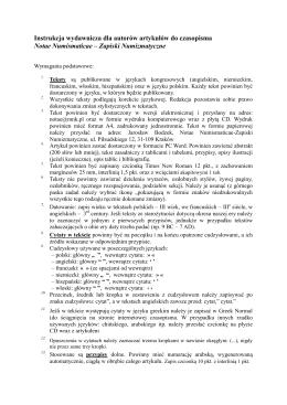 Instrukcja wydawnicza dla autorów artykułów do czasopisma Notae
