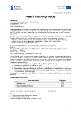 Protokół wyboru wykonawcy – dokument z dnia 22.12.2015
