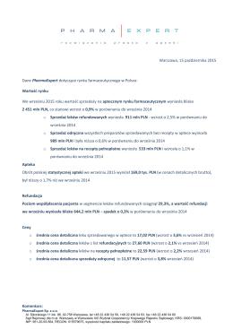 PharmaExpert podsumowuje rynek farmaceutyczny wrzesień 2015
