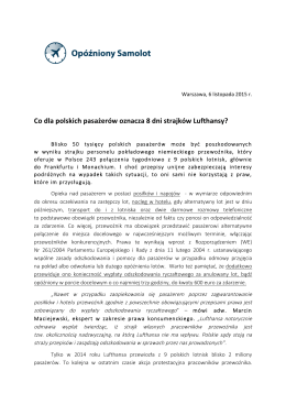 Co dla polskich pasażerów oznacza 8 dni strajków Lufthansy?