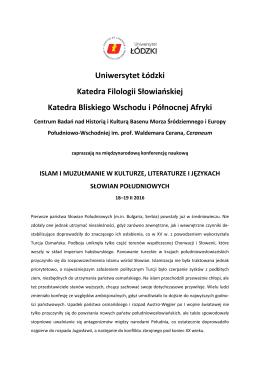 Uniwersytet Łódzki Katedra Filologii Słowiańskiej Katedra Bliskiego