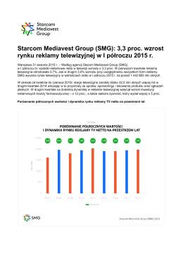 (SMG): 3,3 proc. wzrost rynku reklamy telewizyjnej w I