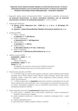 Regulamin punktu selektywnej zbiórki odpadów od właścicieli