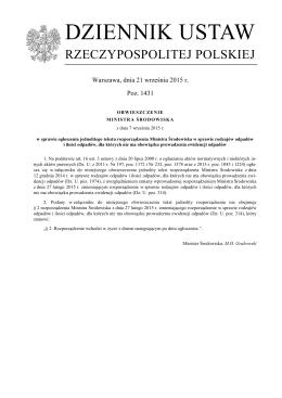 Obwieszczenie Ministra Środowiska z dnia 7 września 2015