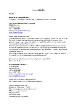 Sylwester 2015-2016 - Tarnowskie Centrum Informacji