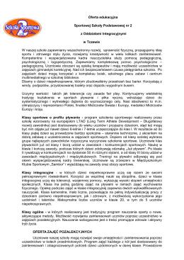 Oferta edukacyjna Sportowej Szkoły Podstawowej nr 2 z Oddziałami