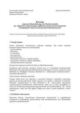 Recenzja 2 - Wydział Inżynierii Mechanicznej i Informatyki